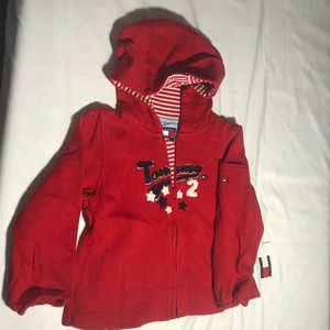 Tommy Hilfiger zip front hooded red jacket 4T NWT